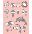 Set of Summer Fun Sketch Scribble Objects vector image vector image