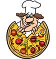 italian chef with pizza cartoon vector image