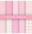 Cute different seamless patterns Pink and white vector image vector image