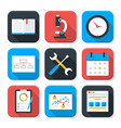 Flat Business and Office Life App Icons Set vector image