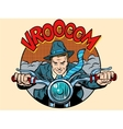 Motorcyclist rider biker man vector image