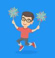 caucasian boy holding burning up bengal lights vector image