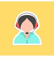 girl call center avatar sticker vector image