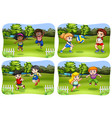 happy kids playing in park vector image