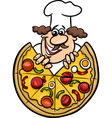 italian chef with pizza cartoon vector image
