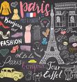 Paris doodles elements Hand drawn set with eiffel vector image