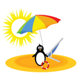 penguin with umbrella on the beach vector image