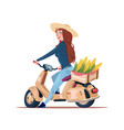 woman farmer riding electric scooter with harvest vector image