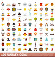 100 fantasy icons set flat style vector image