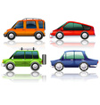 Different kinds of cars in four colors vector image