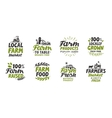 Farm icons set natural organic food Symbol vector image