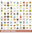 100 fantasy icons set flat style vector image