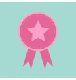 Badge with star and ribbons Award icon in flat vector image