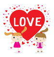 love girl cute cartoon character vector image