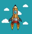 rocket pencil flying icon vector image