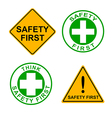 Set of safety first sign vector image