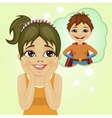 little girl dreaming about superhero boy vector image
