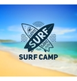 Surf Camp logo template on blurred sunny beach vector image