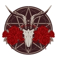 emblem with goat skull vector image