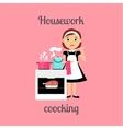 Housekeeper woman cooking vector image