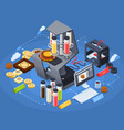 printing isometric concept vector image