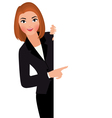 Businesswoman in suit holding blank white sign vector image vector image