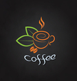 Coffee cup with beans and green leaves on a vector image