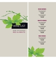 wine list with a branch of grapes vector image vector image