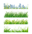 green grass floral banner collection vector image vector image