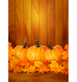 background with three pumpkins and colorful leaves vector image vector image