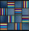 colored lines on a jeans patchwork background vector image