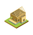 construction structure of house isometric 3d icon vector image