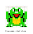 cross-stitch pixel art frog animals set vector image