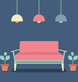 Flat Design Interior Vintage Sofa vector image