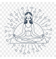 girl yoga linear style silhouette vector image