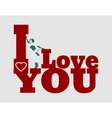 I love you text and woman silhouette vector image