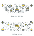 Thin Line Graphic Design and Social Media Concepts vector image