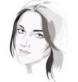 Female portrait in grey vector image