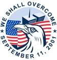 911 memorial american eagle flag twin towers vector image vector image