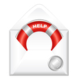 Open Envelope With Red Life Buoy vector image vector image