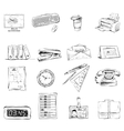 Business office stationery supplies icons set vector image