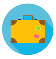 Flat Travel Suitcase Circle Icon vector image