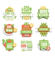 Healthy Vegan Organic Food Promo Sign Set vector image vector image