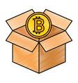 box carton with bitcoin isolated icon vector image