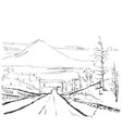hand drawn mountains sketch vector image