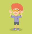 little caucasian boy wearing clown wig and glasses vector image