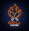 logo chicken grill emblem neon-style sign for vector image