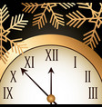 new year gold shining clock snowflake vector image