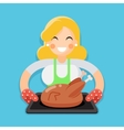 Fried chicken turkey housewife with baking vector image