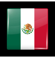 Flag of Mexico Glossy Icon Square Shape vector image